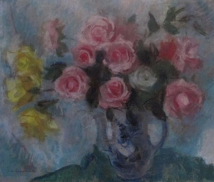 • LENA ALEXANDER (1899-1983) mIXED ROSES IN A BLUE