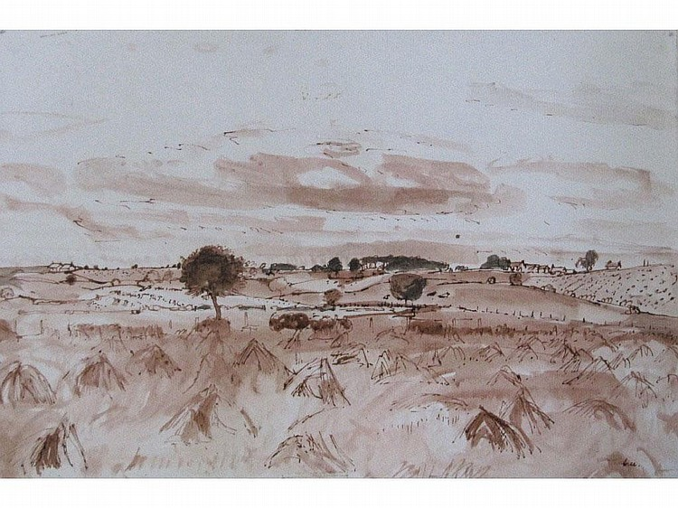 ALEXANDER CREE (1929-?) Pen and wash 'Harvest