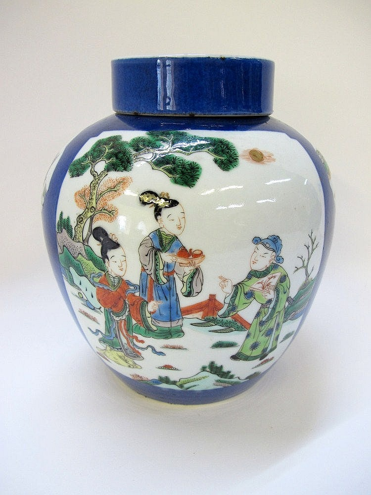 A Chinese ginger jar and cover, the blue glazed