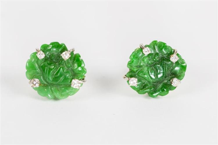 14K WHITE GOLD, CARVED JADE, AND DIAMOND EARRINGS