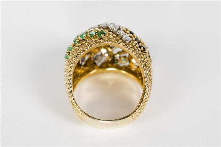 18K YELLOW GOLD, DIAMOND, SAPPHIRE, AND EMERALD RING, Hammerman Bros.