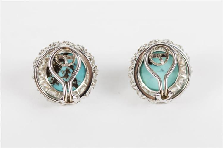 14K WHITE GOLD, TURQUOISE, AND DIAMOND EARCLIPS
