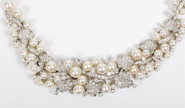 PLATINUM, DIAMOND, AND CULTURED PEARL NECKLACE