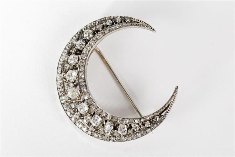 14K YELLOW GOLD, SILVER, AND DIAMOND CRESCENT BROOCH