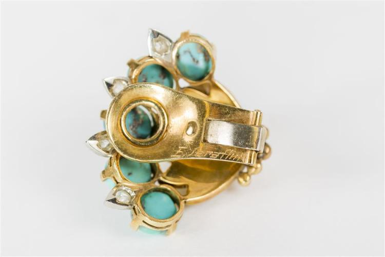 14K GOLD, TURQUOISE, AND DIAMOND EARCLIPS, E. Serafini