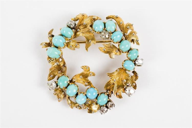 14K GOLD, TURQUOISE, AND DIAMOND BROOCH