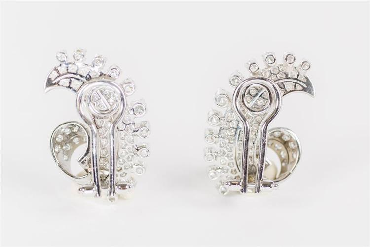 14K WHITE GOLD AND DIAMOND EARCLIPS
