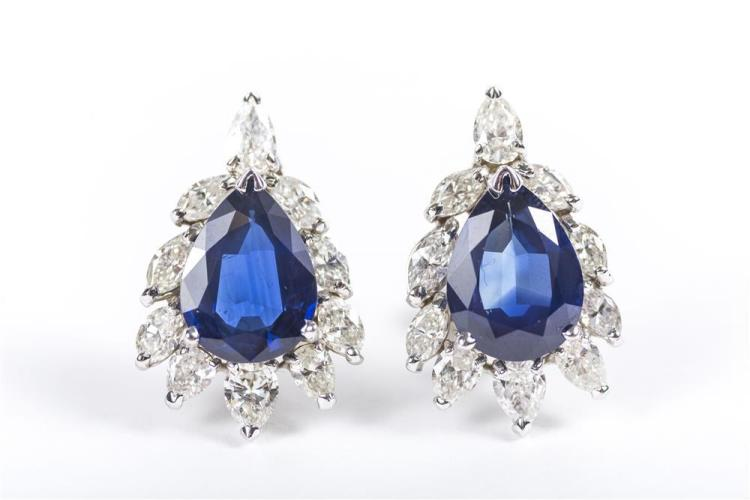 18K WHITE GOLD, SAPPHIRE, AND DIAMOND EARCLIPS
