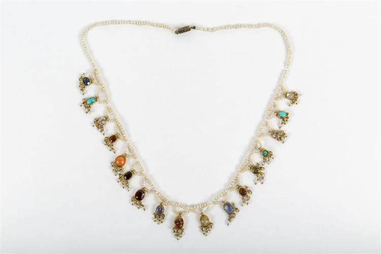 14K YELLOW GOLD, SEED PEARL, AND GEMSET NECKLACE