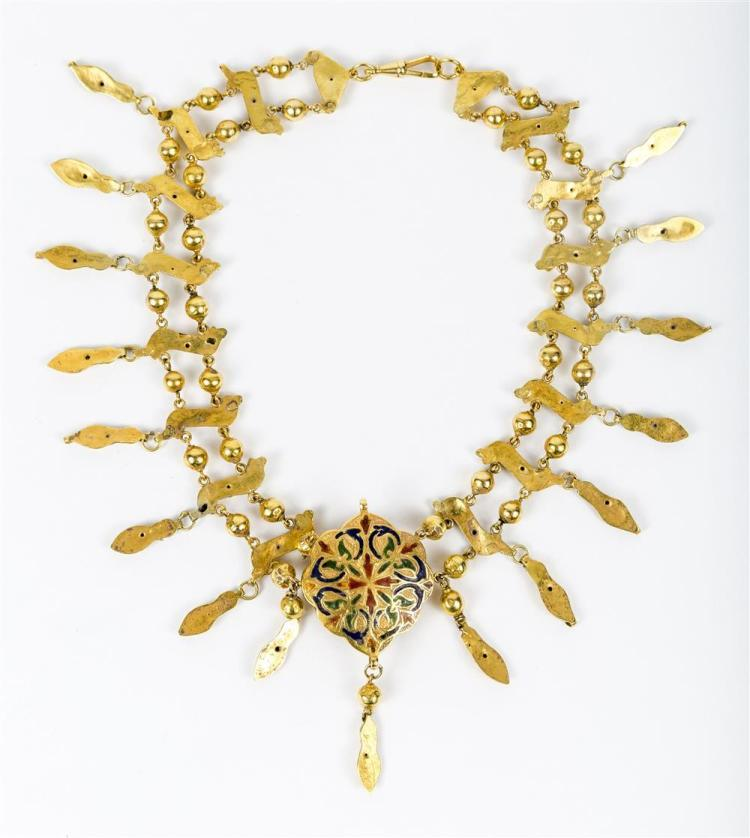 14K YELLOW GOLD, EMERALD, AND ENAMEL NECKLACE