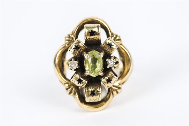 14K YELLOW GOLD, PERDIOT, DIAMOND, AND ENAMEL RING