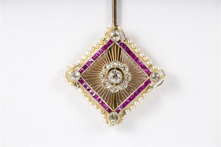 14K YELLOW GOLD, PLATINUM, DIAMOND, RUBY, AND SEED PEARL JABOT