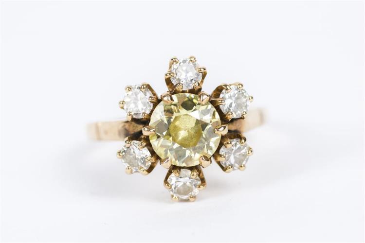 14K YELLOW GOLD, COLORED DIAMOND, AND DIAMOND RING