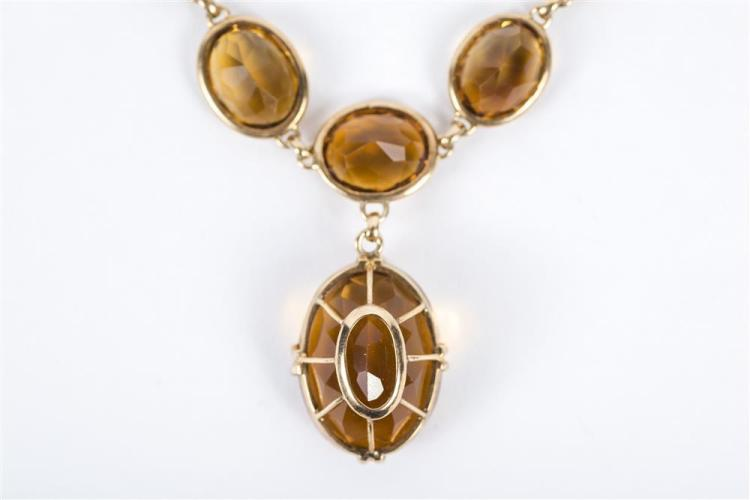 14K YELLOW GOLD AND CITRINE NECKLACE