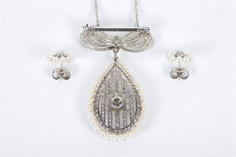 PLATINUM, DIAMOND, AND PEARL PENDANT/BROOCH AND EARRINGS