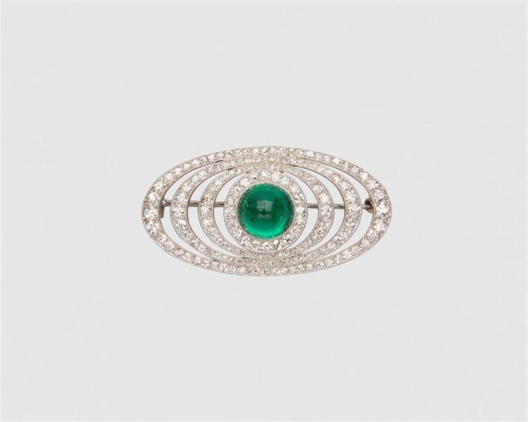 CARTIER Platinum, Emerald, and Diamond Brooch