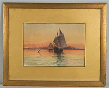 JOHN INGERSOLL COGGESHALL, (American, 1856-1927), HARBOR VIEW AT SUNSET, watercolor;, 12 x 16 in.