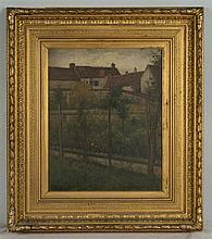F. E. WRIGHT, (American, 1849-1891), HOMESTEAD GARDEN, oil on canvas;, 16 x 13 in.