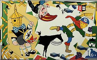 TREVOR WINKFIELD, (American, b. 1944), ARMAGEDDON OR INDIGESTION, acrylic on canvas;, 30 1/2 x 50 3/4 inches