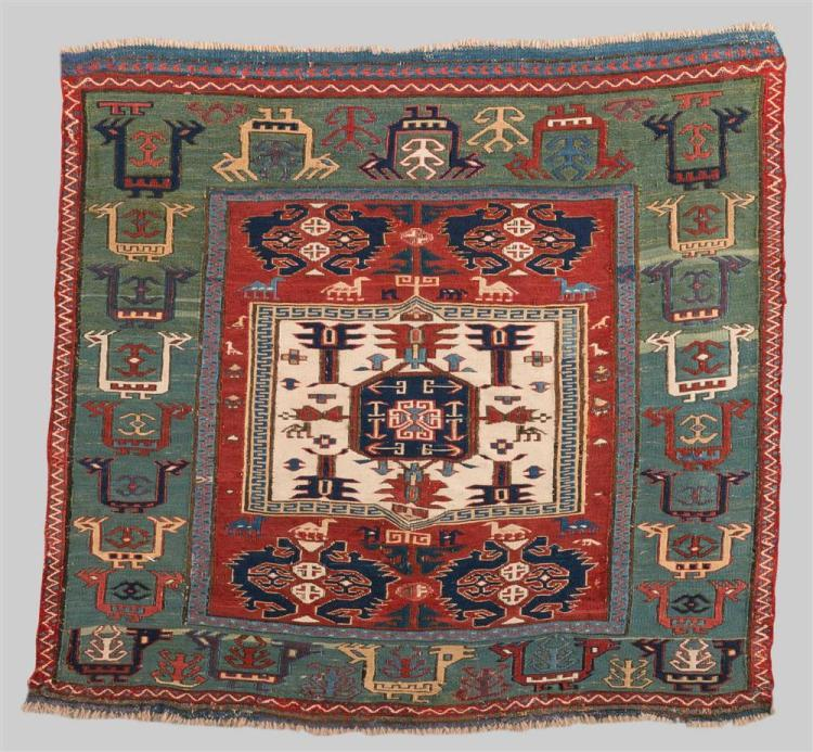SOUMAC BAG FACE, Caucasus, early 19th century; 2 ft. 4 in. x 2 ft. 2 in.