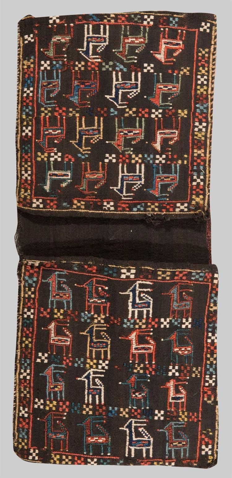 PAIR OF CAUCASIAN EMBROIDERED BAGS, late 19th century; 1 ft. 11 in. x 10 1/2 in.