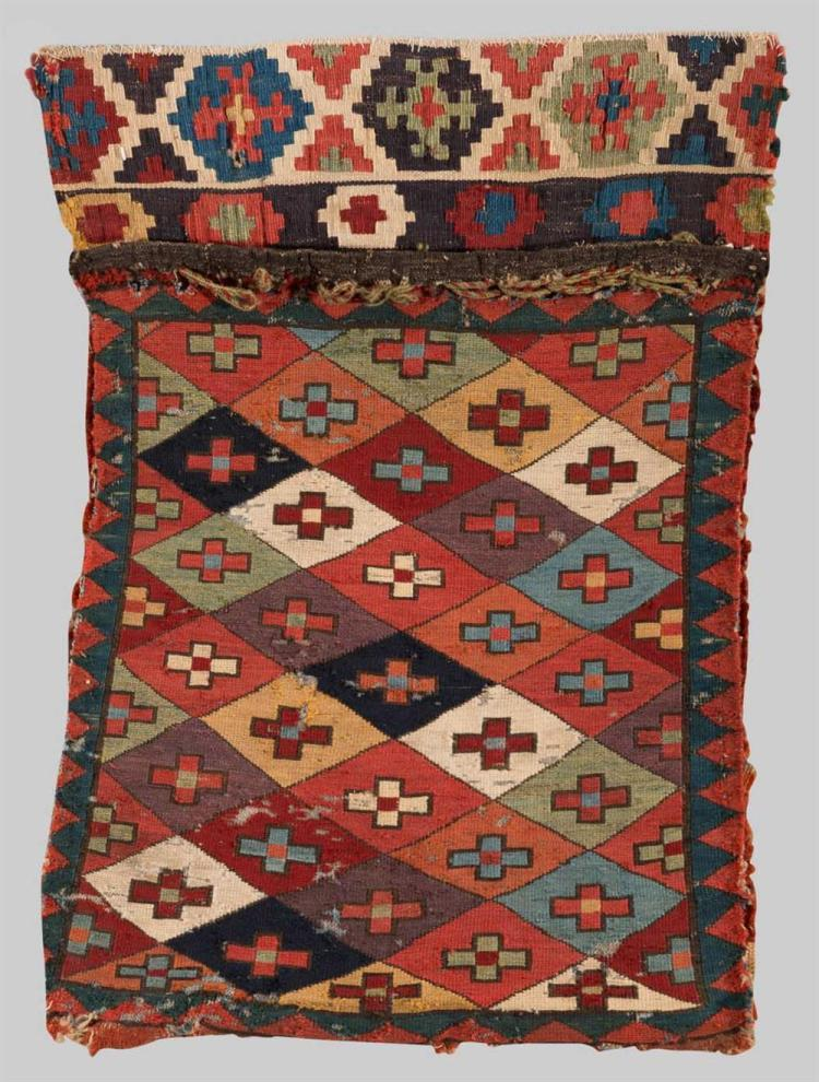 SOUMAC BAG FACE, Caucasus, early 19th century; 2 ft. 4 in. x 1 ft. 8 in.