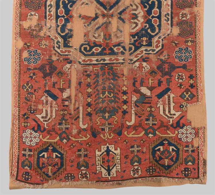 CAUCASIAN RUG, ca. 1800; 6 ft. 9 in. x 3 ft. 9 in.