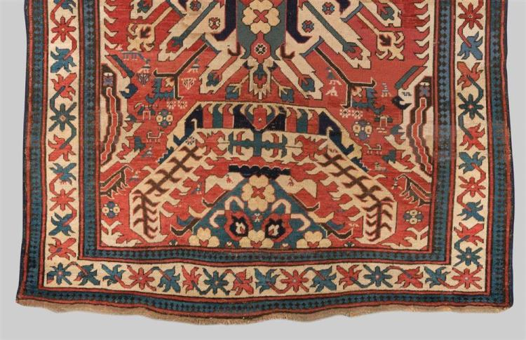 EAGLE KAZAK RUG, Caucasus, ca. 1800; 7 ft. 5 in. x 5 ft. 4 in.