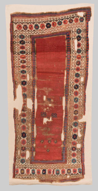 KAZAK RUG, Caucasus, ca. 1800; 7 ft. 10 in. x 3 ft. 8 in.