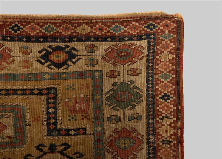 SOUTH CAUCASIAN PRAYER RUG, dated AH 1247 (1832); 4 ft. 1 in. x 3 ft. 4 in.