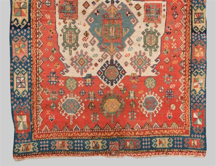 KAZAK PRAYER RUG, Caucasus, dated AH 1242 (1827); 5 ft. x 3 ft. 6 in.