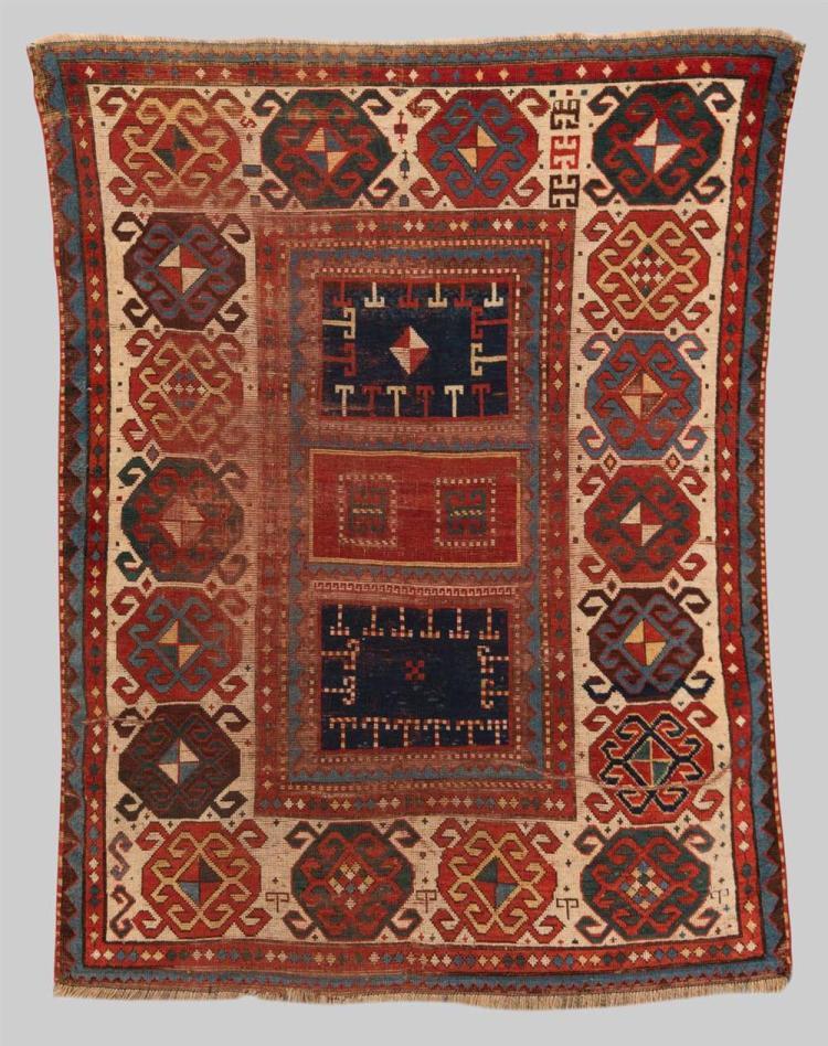 KAZAK RUG, Caucasus, mid 19th century; 6 ft. 5 in. x 5 ft.