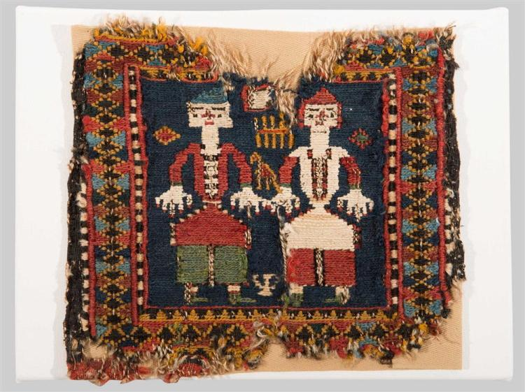 MINIATURE SOUMAC PICTORIAL BAG FACE, Caucasus, ca. 1900; 9 1/2 in. x 8 1/2 in., mounted