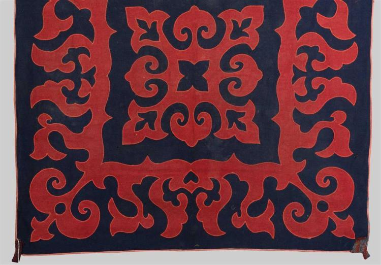 INLAID FELT RUG, Kirgiz, first half 19th century; 6 ft. 3 in. x 4 ft. 3 in.