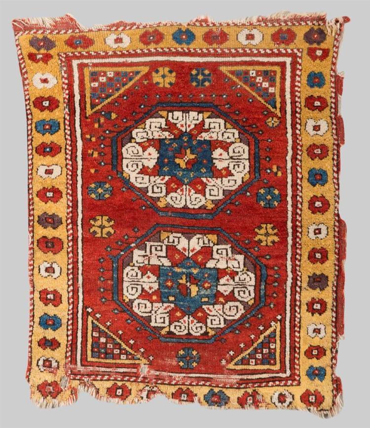 KONYA RUG, Turkey, ca. 1800; 3 ft. 6 in. x 2 ft. 9 in.