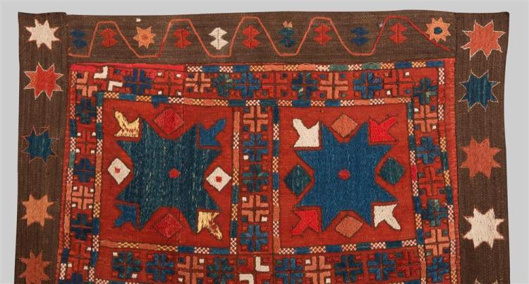 KUNGRAT AINA POSH, Uzbekistan, mid 19th century; 2 ft. 4 in. x 2 ft. 4 in.