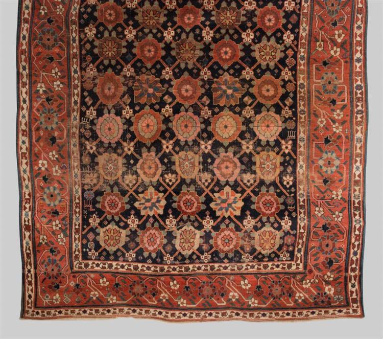 KURDISH CARPET, Persia, ca. 1850; 12 ft. 5 in. x 7 ft. 3 in.