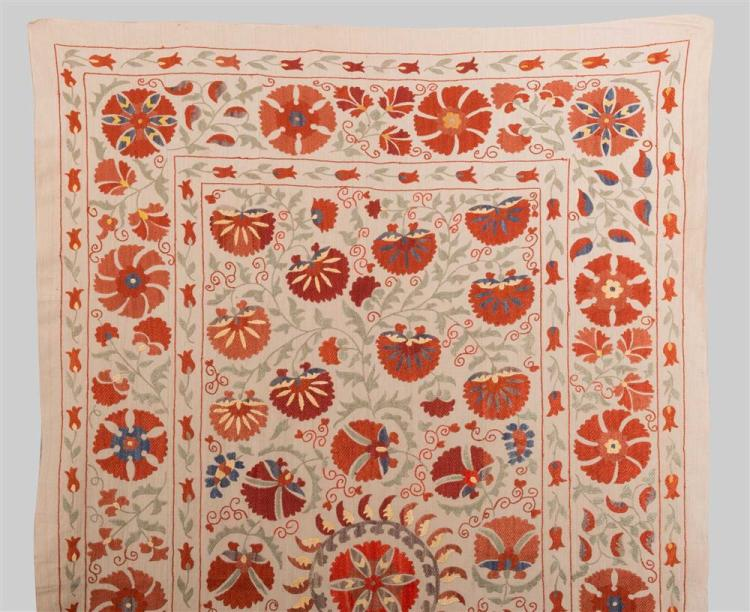 TWO CONTEMPORARY UZBEK STYLE SILK NEEDLEWORK; larger: 8 ft. x 5 ft., smaller: 4 ft. 3 in. x 2 ft. 10 in.