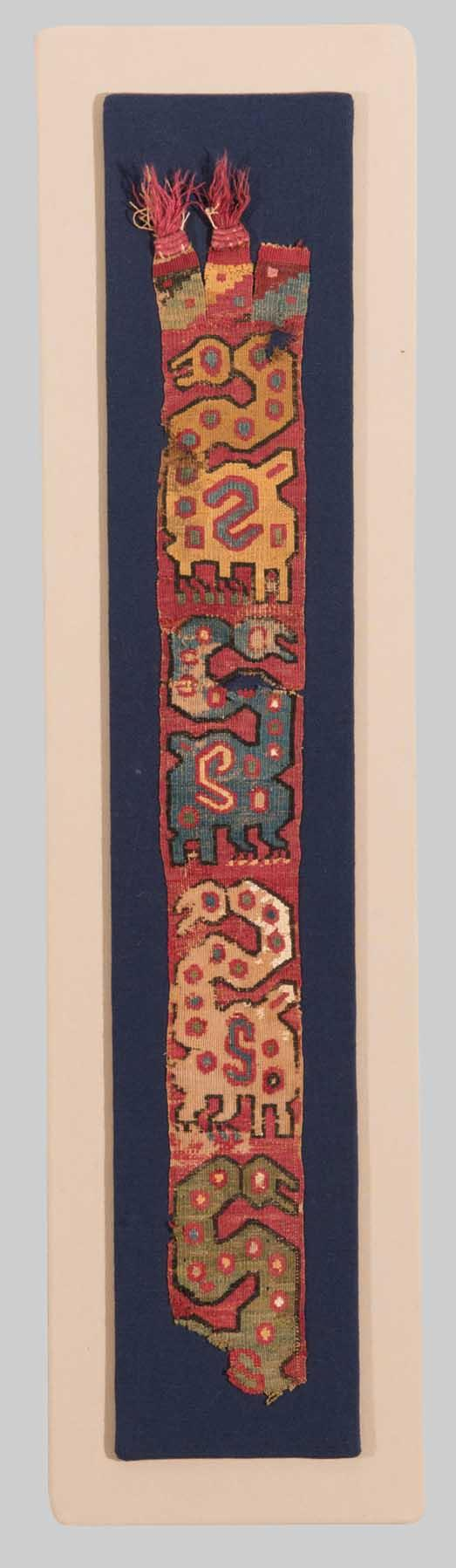 THREE TEXTILE FRAGMENTS; one: 2 ft. 5 in. x 3 in., one: 7 in. x 6 in.; one: 1 ft. 3 in. x 10 in.