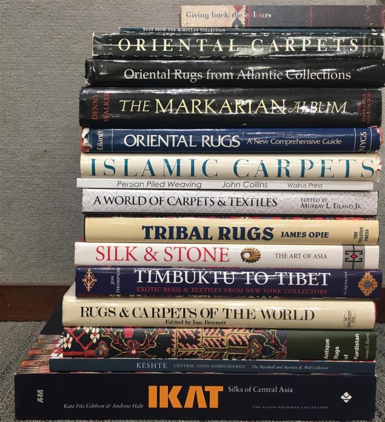 A COLLECTION OF OVER 75 ASSORTED BOOKS AND CATALOGUES PERTAINING TO RUGS AND RUG COLLECTING