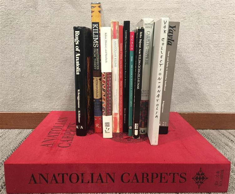 OLCER, NAZAN, and WALTER DENNY. Anatolian Carpets: Masterpieces from the Museum of Turkish and Islamic Arts, Istanbul. Vols. I&II. Bern: Ertug & Kocabiyik, 1999 together with10 BOOKS ABOUT TURKISH AND ANATOLIAN RUGS