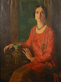 J. DWIGHT BRIDGE, (American, 20th century), PORTRAIT OF A LADY IN RED DRESS, oil on canvas;, 40 1/2 x 30 inches