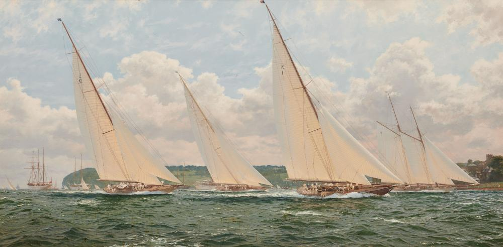 JOHN STEVEN DEWS, English b. 1949, Racing Off The Isle of Wight, oil on canvas, 30 x 60 in., frame: 41 1/2 x 71 1/2 in.