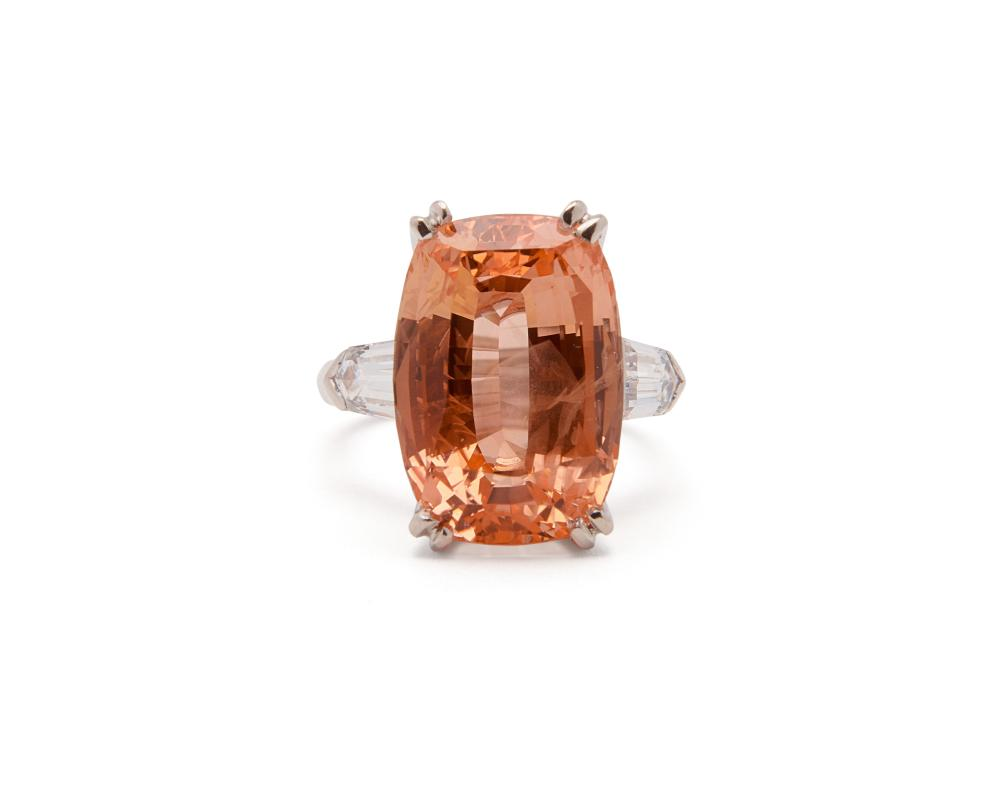 Platinum, Orange Sapphire, and Diamond Ring