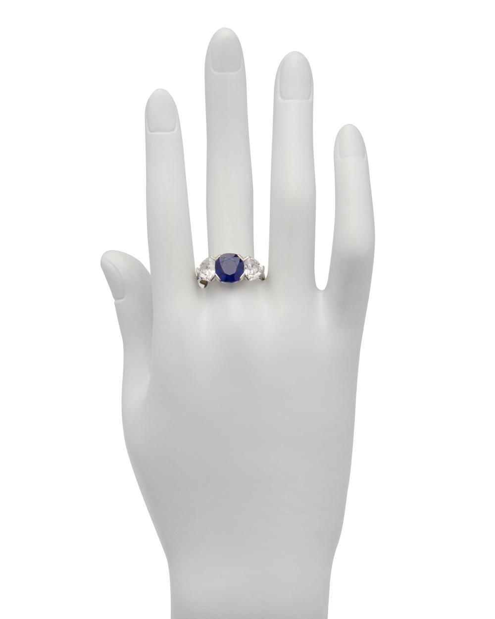 Platinum, Kashmir Sapphire, and Diamond Ring