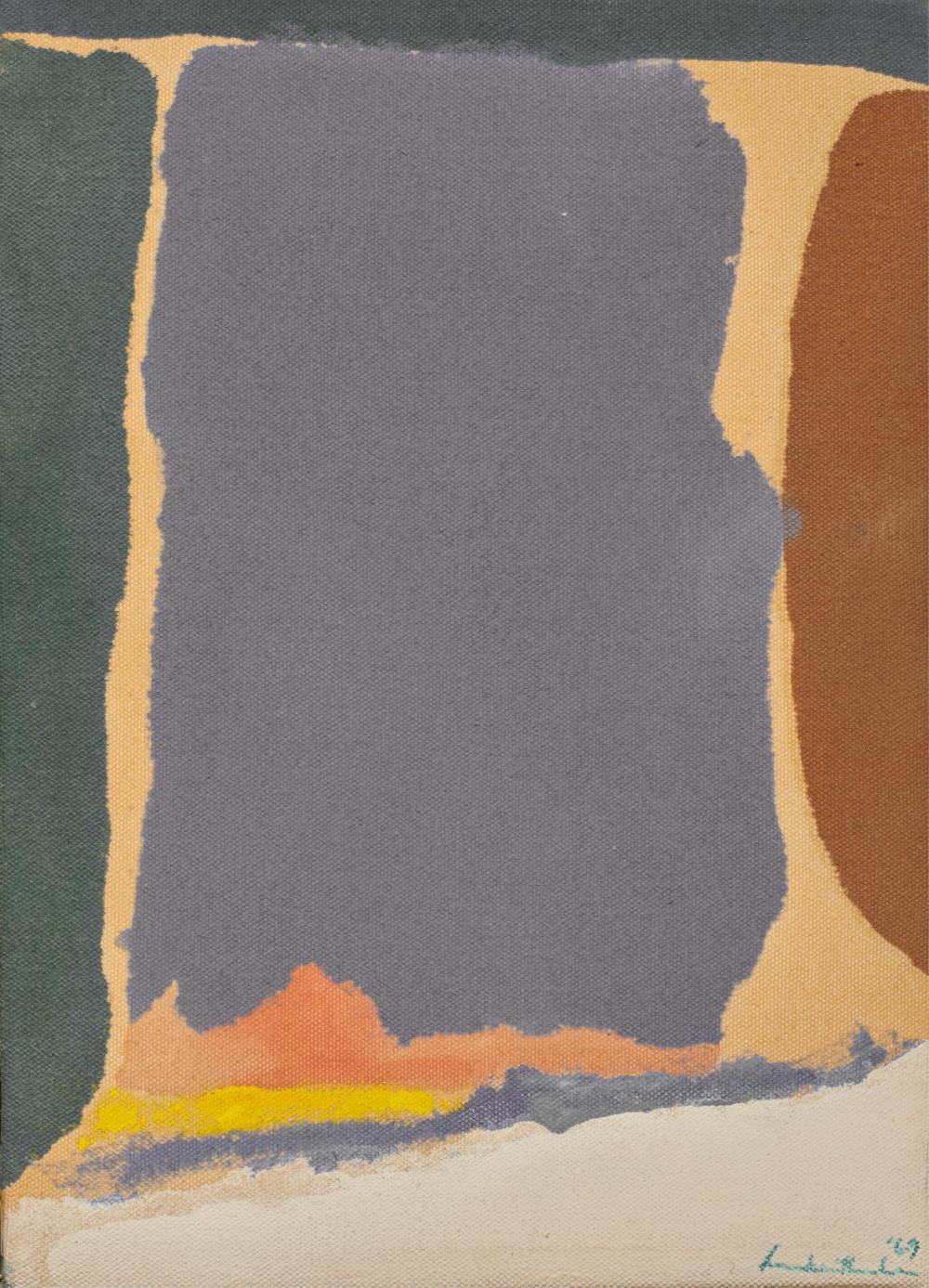 HELEN FRANKENTHALER, American 1928-2011, Untitled, 1969, acrylic on canvas, 11 x 8 in., housed in a Kulicke traveling frame: 12 5/8 x 9 5/8 in.