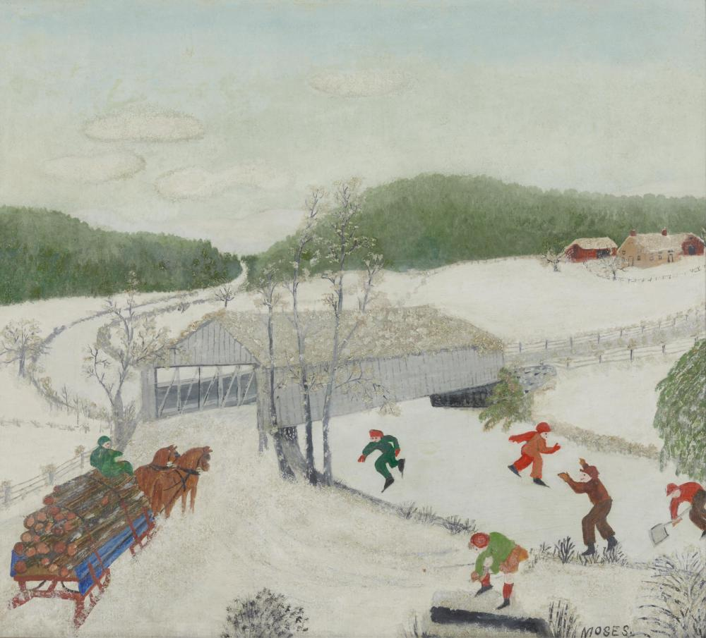 ANNA MARY ROBERTSON 'GRANDMA' MOSES, American 1860-1961, February, 1944, oil on pressed wood, 13 x 15 in., frame: 15 1/2 x 17 in.