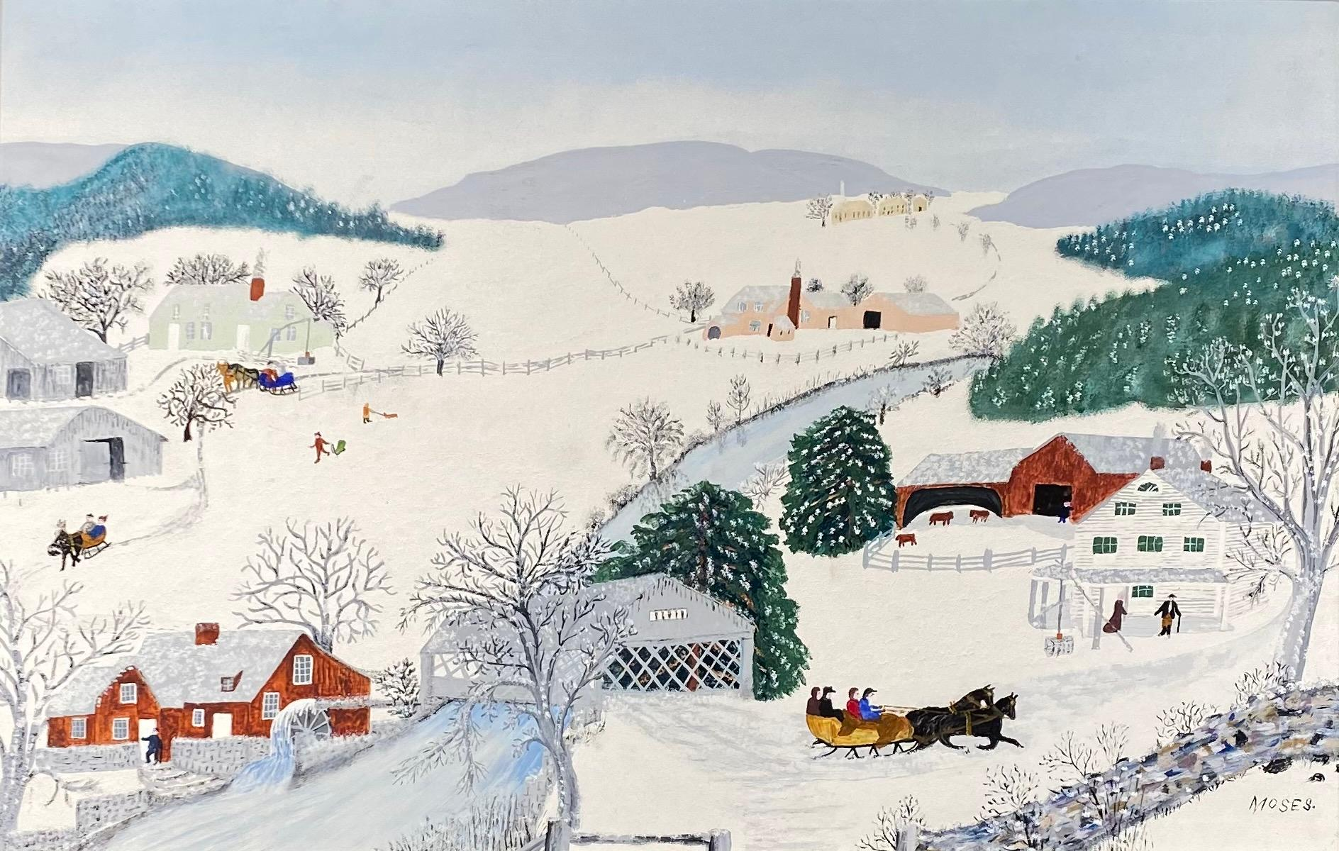 ANNA MARY ROBERTSON 'GRANDMA' MOSES, American 1860-1961, Over the River to Grandma's House on Thanksgiving Day, 1944, oil on pressed wood, 17 x 26 in., frame: 25 1/2 x 34 1/2 in.