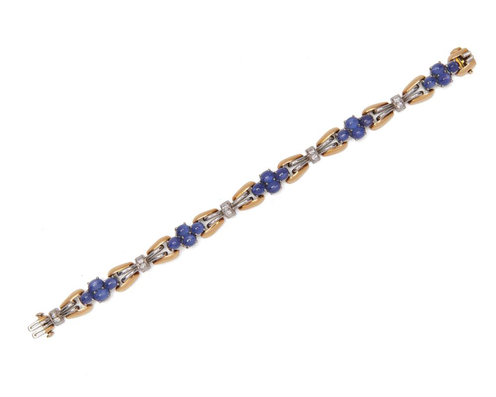 18K Gold, Sapphire, and Diamond Bracelet