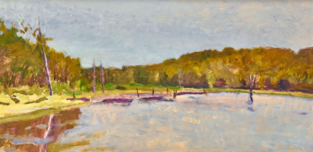 WOLF KAHN, (American, 1927-2020), Near Hidden Lake, 1983, oil on canvas, 22 x 44 in., frame: 25 x 47 in.